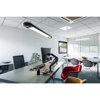 SLV AIXLIGHT R2 OFFICE LED LONG, Pendelleuchte, schwarz, LED + 2xQPAR111, max. 75W, 153cm