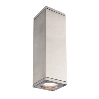 SLV THEO UP/DOWN, QPAR51, Outdoor Wandleuchte, alu natur, max. 2x50W, IP44