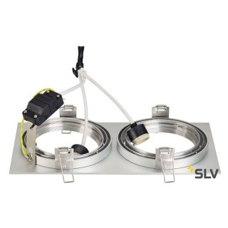 NEW TRIA II ES111 Downlight, rechteckig, alu brushed, GU10, max. 2x75W, inkl. Clipfedern